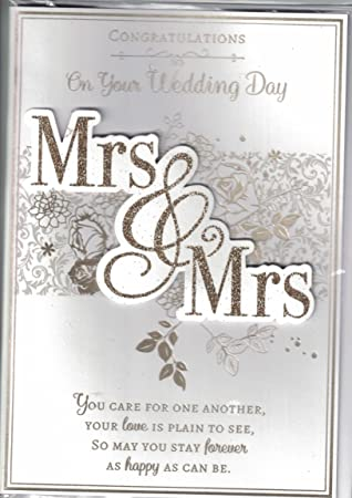 Wedding Day Card Mrs Mrs Congratulations On Your Wedding Day