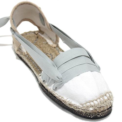 Espardenya.cat Alpargatas Tradicionales Planas Suela de Goma Diseño Tres Vetas o Tabernero Color Gris Claro: Amazon.es: Zapatos y complementos