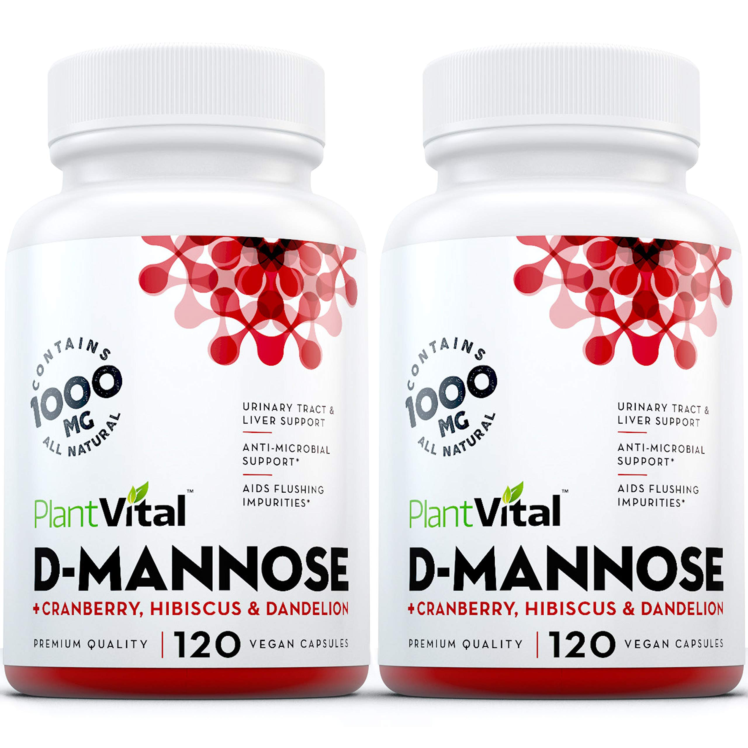 New! D-Mannose 1000mg w Cranberry [HIGH Potency] Urinary Tract Treatment, Bladder Control, Kidney Cleanse & UTI Support. 100% Natural Detox. Plus Hibiscus & Dandelion. by Plantvital