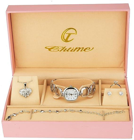 Caja de Regalo Reloj Mujer Plata- Juegos de Joyas- Collar-Anillo- Pendientes