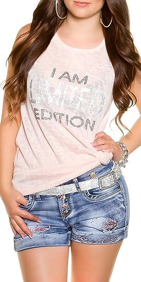 Koucla Damen Shirt T-Shirt mit Print Glitzer Strass Steine Freizeit Partytop,  Farbe Rosa 015f438fb7