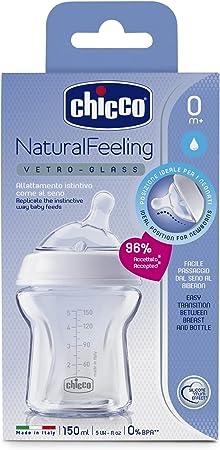 Chicco NaturalFeeling - Biberón de vidrio flujo normal con tetina redondeada anti cólicos, 150ml, 0m+