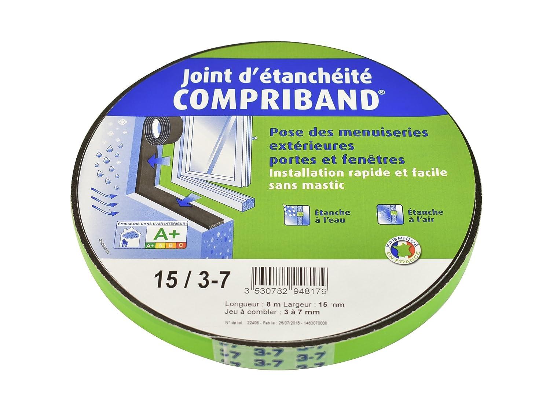 COMPRIBAND Dichtungsring für Fenster und Türen – Ausladung von 3 bis 7 mm – Breite 15 mm – Rolle 8 m TRAMICO Compriband TRS 15/3-7mm