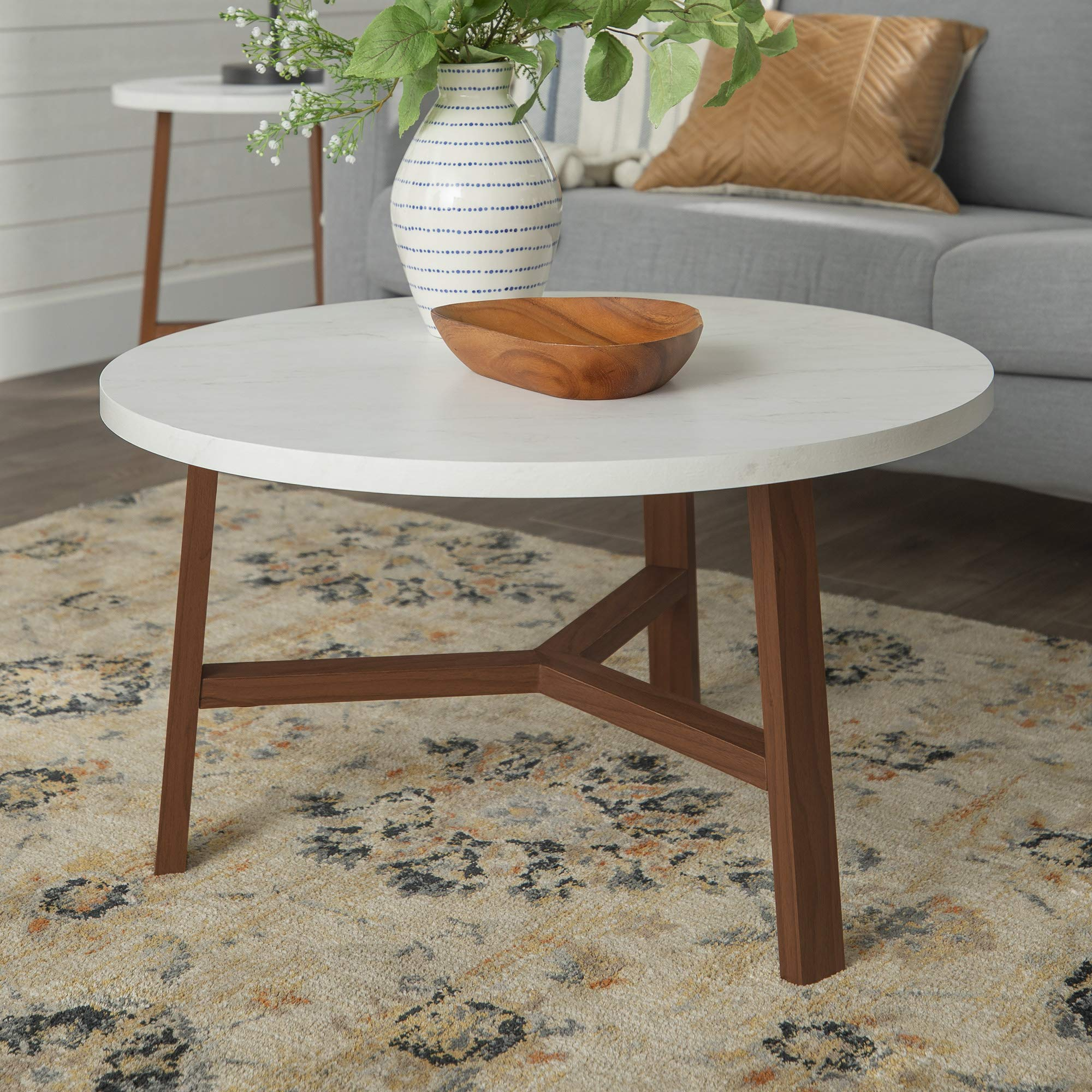 WE Furniture Mid Century Modern Round Coffee Accent Table Living Room, 30 Inch, White Marble, Brown by WE Furniture