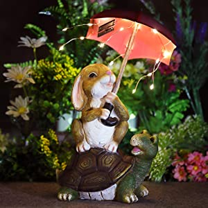 GIGALUMI Solar Garden Statue Outdoor Decor, Rabbit Siting on Turtle Holding an Umbrella with String Lights, Easter Bunny Statue for Patio, Lawn, Yard Art Decoration, Housewarming Garden Gift