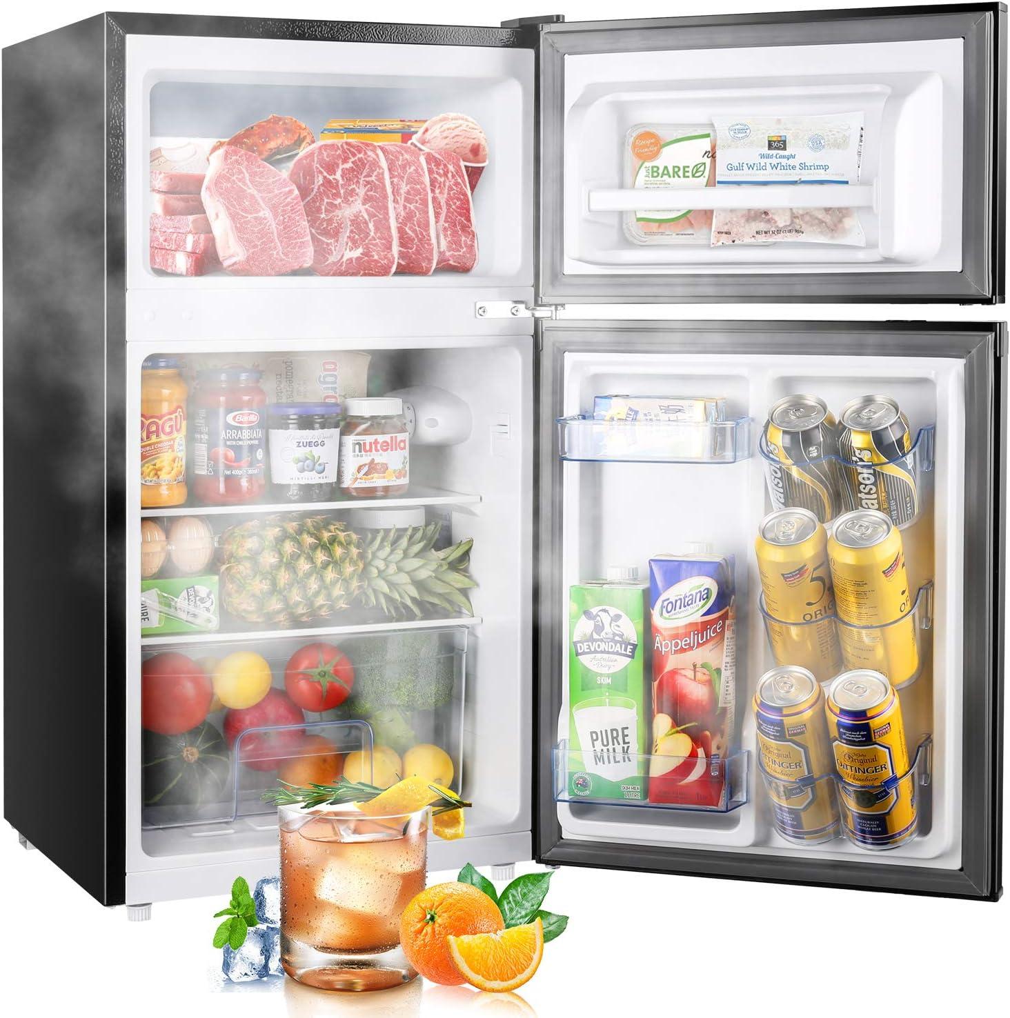 TECCPO Mini Fridge with Freezer TAMF34, 3.0 Cu.Ft. 2 Reversible Door Mini Fridge, 7 Adjustable Thermostat Control, Energy Star, Dorm Refrigerator