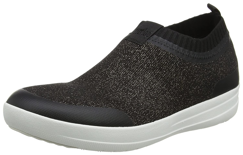 Fitflop Uberknit Slip-on Sneakers-Metallic, Zapatillas Altas para Mujer 37 EU|Multicolour (Black/Bronze Metallic 501)
