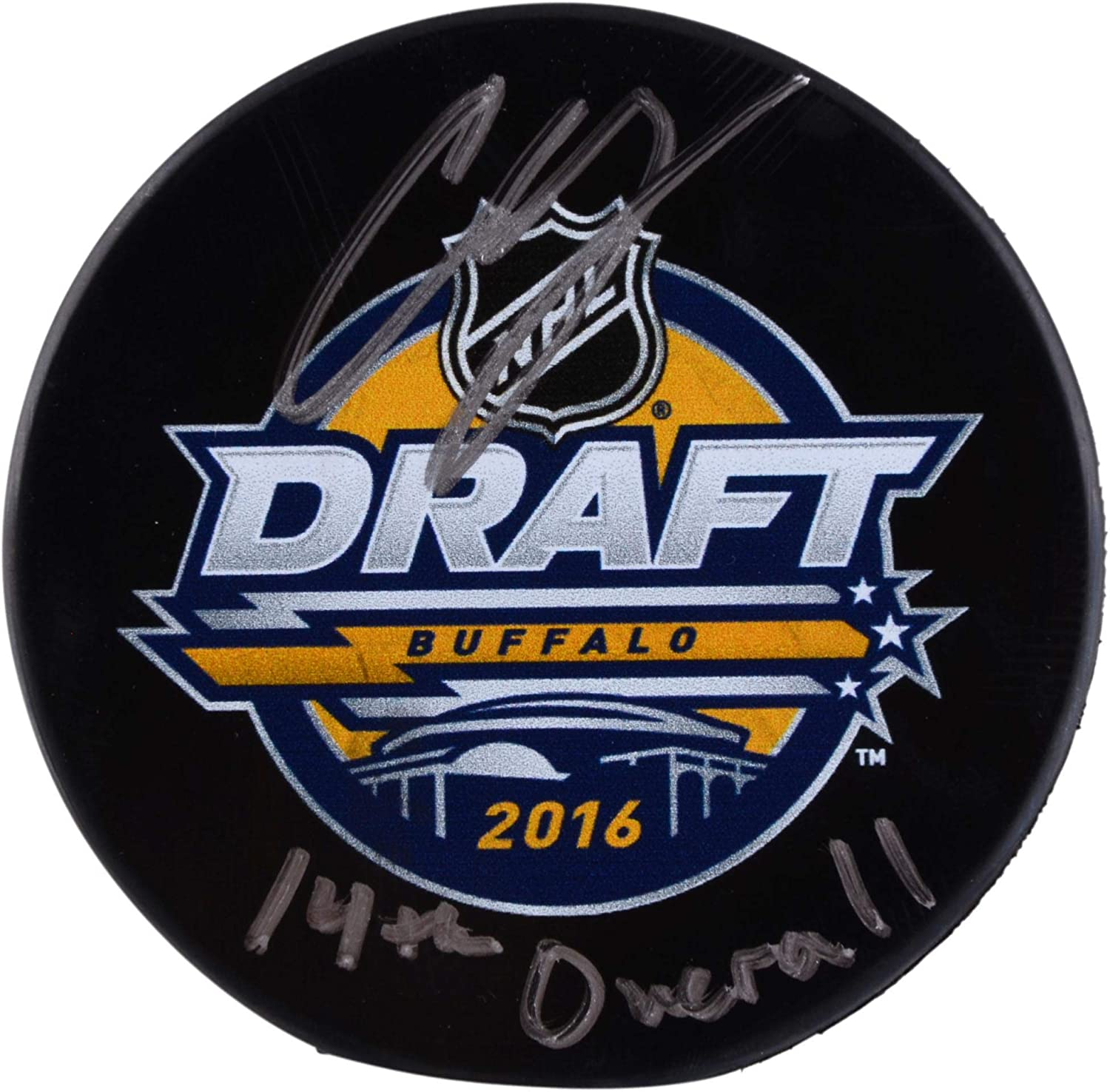 Charlie McAvoy Boston Bruins Autographed 2016 NHL Draft Logo Hockey Puck with #14 Pick Inscription - Fanatics Authentic Certified