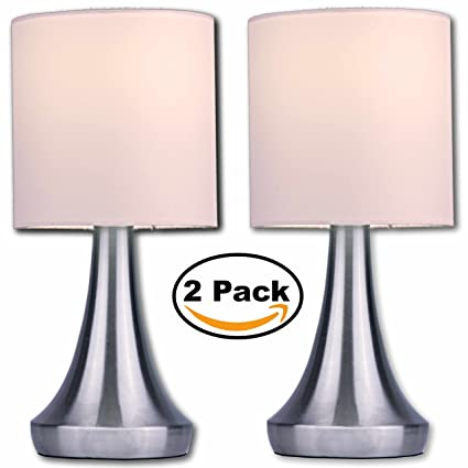 Light Accents Touch Table Lamp 13u0026quot; Tall With 3 Stage Dimmer And White  Fabric