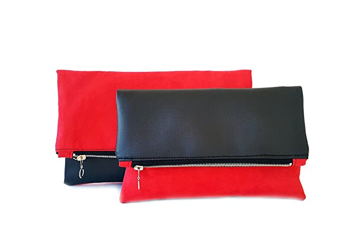 high quality guarantee large assortment latest fashion Faux leather and suede women purse Red and Black clutch bag ...