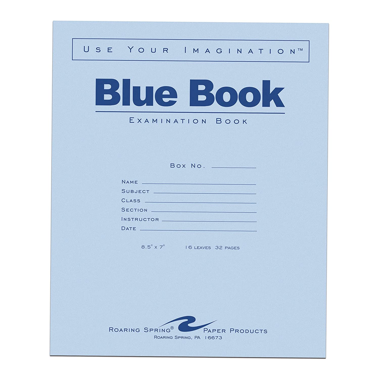 Case of 600 Exam Books, 8.5x7, 8 sheets/16 pages of 15# Smooth White Paper, Wide Ruled W/Margin, Heavy Blue Cover, Stapled 8.5x7 Roaring Spring Paper Products 77512cs