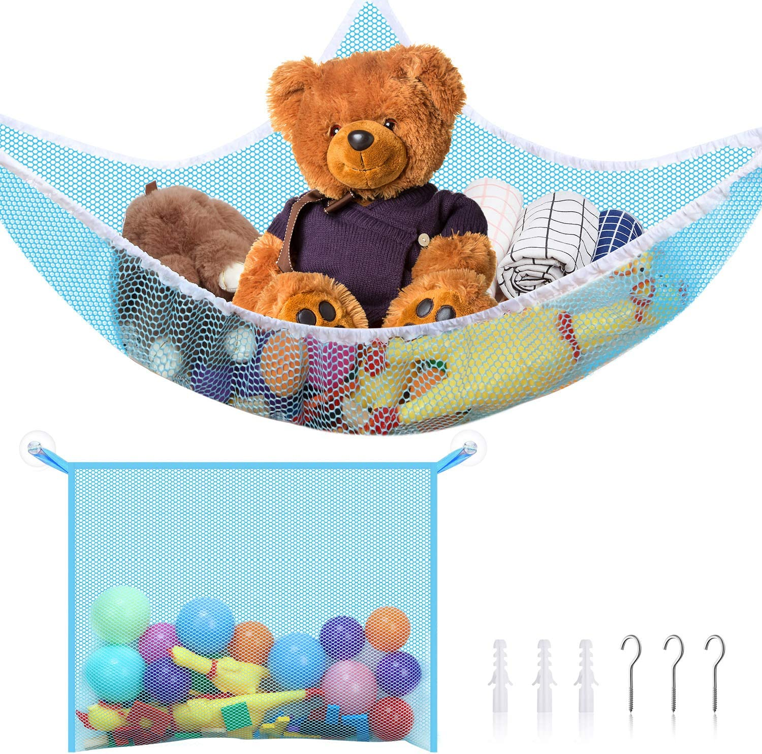 2 Pieces Toy Organizer Storage Net Kit Toy Hammock Stuffed Animal Storage and Mesh Bath Toy Organizer Holder with Installation Tool Bathtub Toy Mesh Net Storage Bag for Organizing Kids Toys Pink