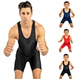 4-Time All American Wrestling Singlet for Men and Youth, Powerlifting and Exercise Equipment, MMA Wrestling Ring Gear/Apparel, Black, Navy Blue, Red (Sizes: 4XS-5XL)