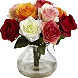 Nearly Natural 1367-AS Rose Arrangement with Vase, Assorted