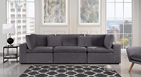 Dark Grey Classic Modular Sofa Couch, Convertible 3 Piece Sofa (Custom  Couch Feature) Modern Velvet Couch Sofa from 2Pc Loveseat w/Single Sofa, ...