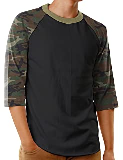 b1cf718637 Hat and Beyond Mens Baseball Raglan T Shirts 3/4 Sleeves Casual Cotton S-