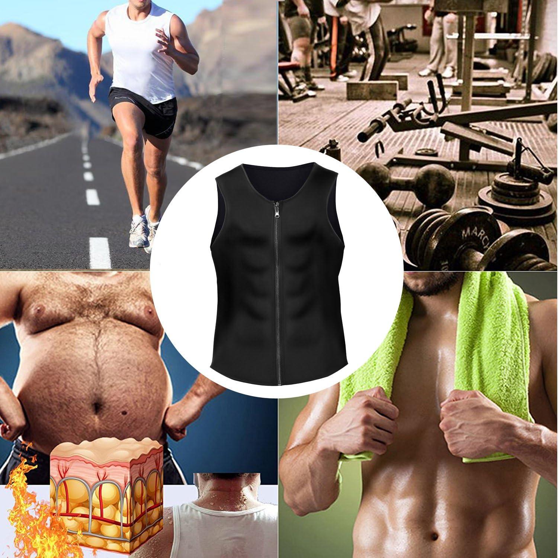 adecuado para hacer ejercicio o sauna Chaleco de neopreno moldeador adelgazante con cremallera para hombre BURUNST sudar y perder peso