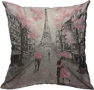 Throw Pillow Cover Paris Oil Painting Cotton Linen Square Pillowcases European City Landscape France Eiffel Tower Black White Pink Modern Art Couple Umbrella Cushion Cover Home Decor 18 X 18 Inch