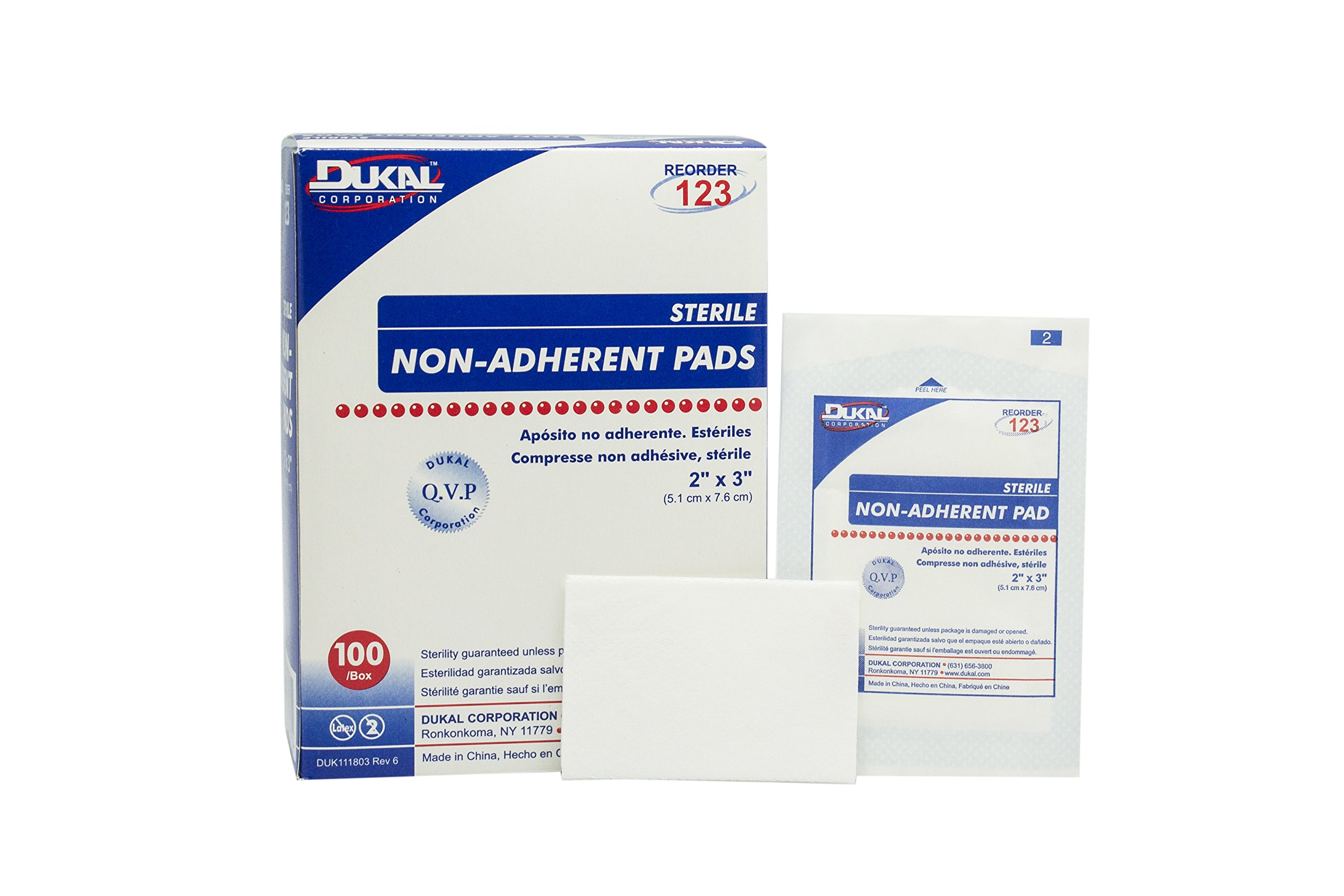 Dukal 123 Pad, Non Adherent, Sterile, 2'' x 3'', White (Pack of 1200)