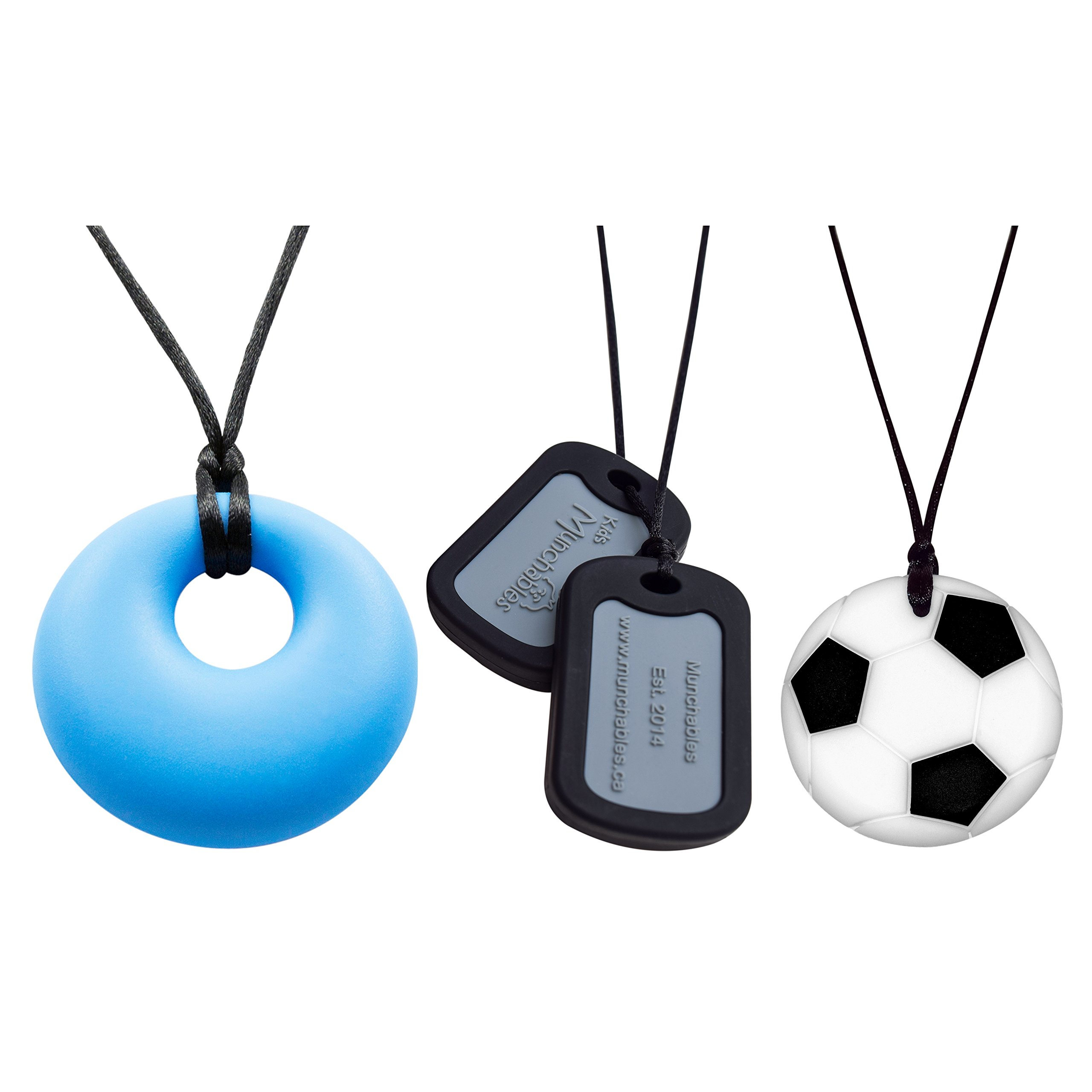 Boys' Chewelry Combo - Chewy Necklaces - Black Dog Tags, Soccer Ball and Blue Yummy Gummy