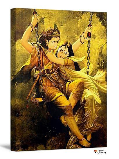 Amazon.com: FoxyCanvas Lord Krishna and Radha Divine Lovers Radha ...