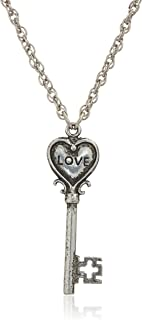 """product image for 1928 Jewelry Antiqued Pewter Tone Heart Shaped Key Inscribed with Love Pendant Necklace, 22"""""""