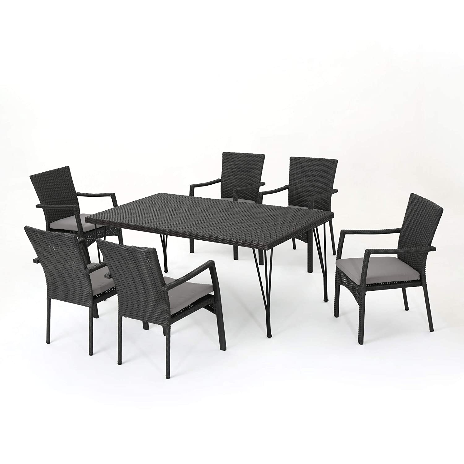 Christopher Knight Home Lula Outdoor 7 Piece Grey Wicker Rectangular Dining Set with Grey Water Resistant Cushions