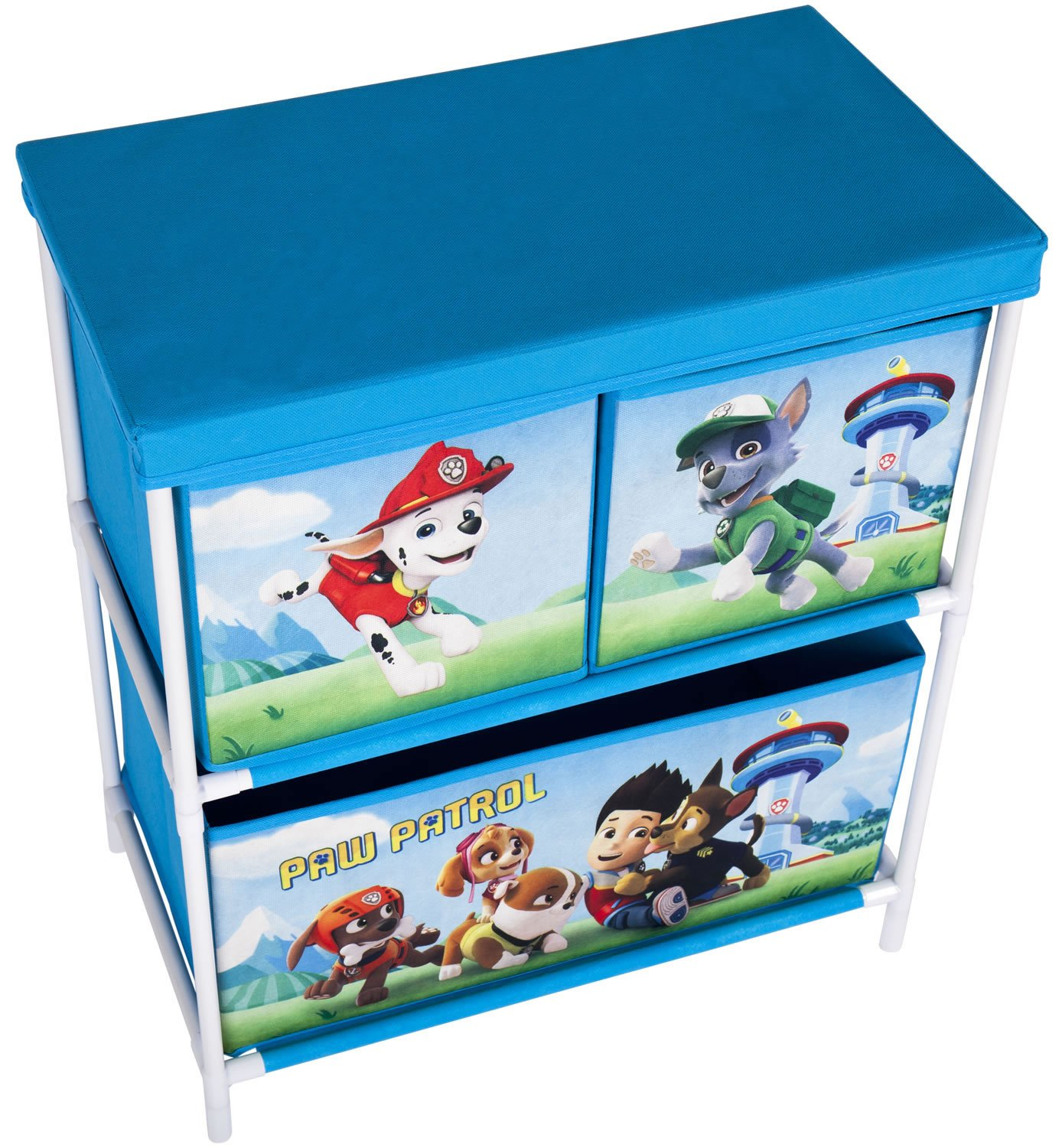 Paw Patrol Chase, Ryder & Friends Kids Toy Storage Unit 2 Tier, 3 Drawer Organiser 60 x 53 x 30cm Boys Blue Fabric Storage Solution Furniture, Childrens Baskets/Bins for Playroom, Bedroom, Living Room
