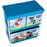 Cassettiera a scaffale Paw Patrol, in tessuto rosso e blu, con 2 o 3 ripiani e 3 cassetti, per bambino o ragazzo, mobile contenitore per giochi, cestone per sala giochi, camera da letto, soggiorno