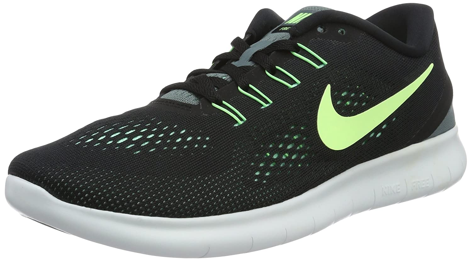 a3289520e5cbd Nike Men s Free Rn Running Shoes Black Hasta Green Glow Ghost Green 8  Buy  Online at Low Prices in India - Amazon.in