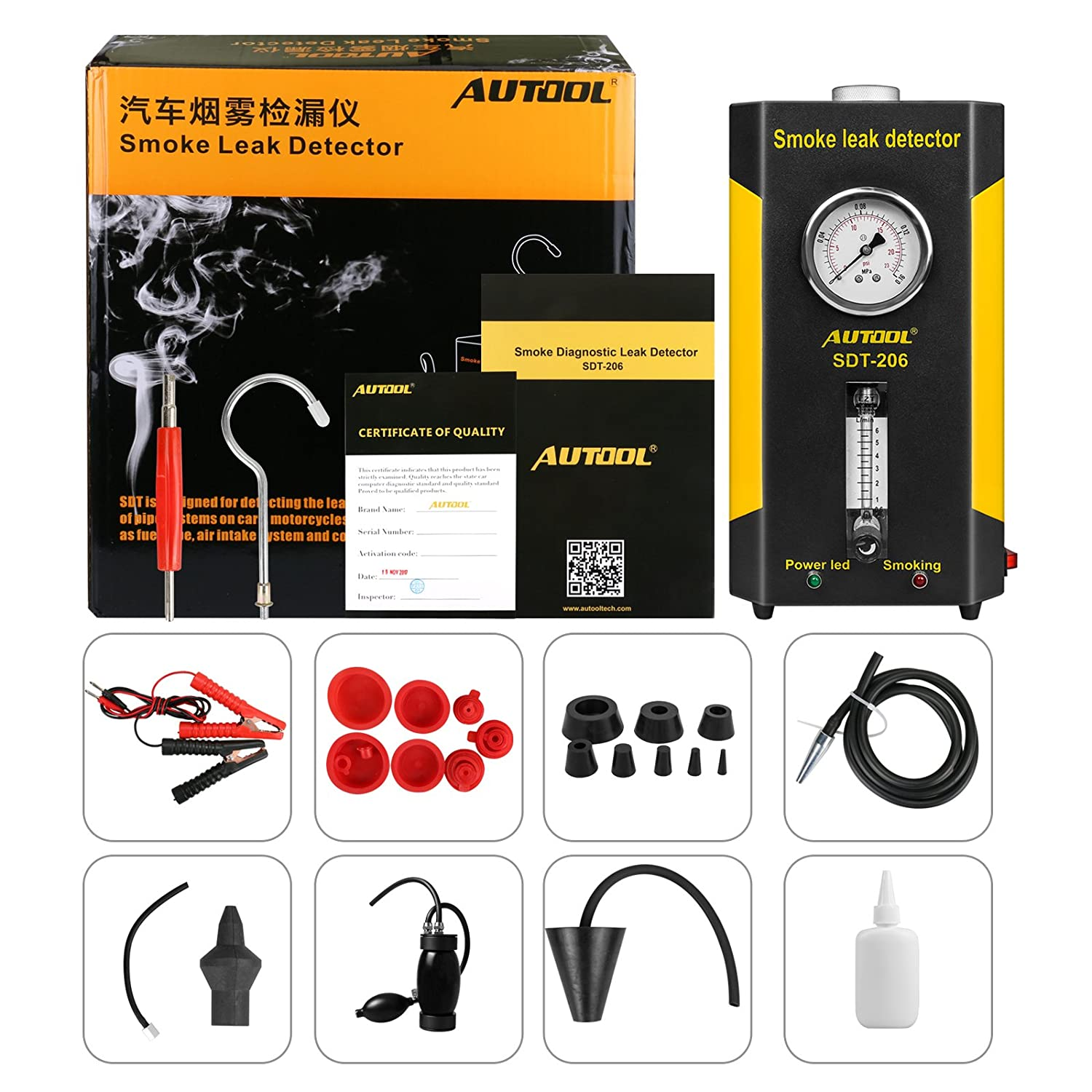 12V Vehicle Pipes Fuel Leakage Detector Diagnositc Tester for Cars//Motorcycles//Boats from US WAREHOURSE AUTOOL SDT-206 Automotive EVAP Leak Testing Machine