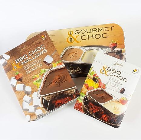 2x100g BBQ CHOC - Fondue de chocolate para la parrilla - negro y chocolate blanco - con 2 cuencos: Amazon.es: Alimentación y bebidas