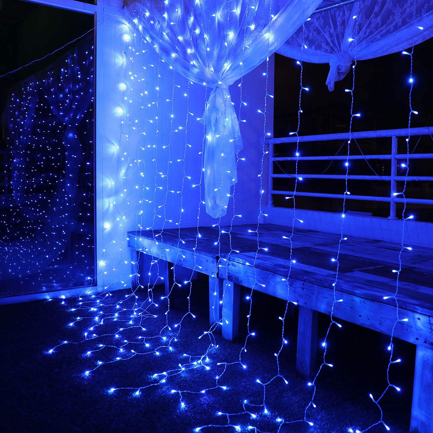 Blue Wedding Decorations Fairy Lights 300 LED Window Curtain String Twinkle Light for Christmas Wedding Party Home Garden Bedroom Outdoor Indoor Wall Decoration