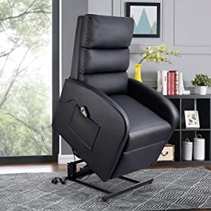 Pawnova Electric Power Lift Recliner Sofa with Safety Reclining Device and Massage Function, PU Leather Living Room Single Sofa, Home Leisure Recliner Sofa for Elderly People, Black