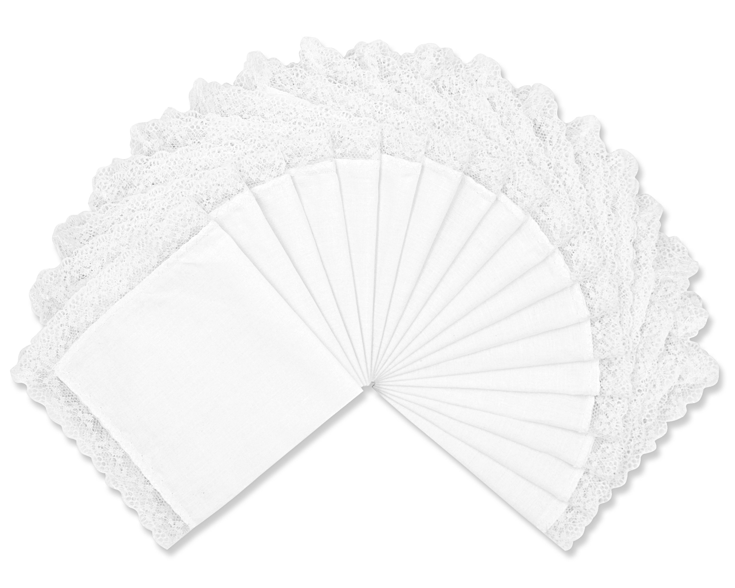 Milesky Solid White Wedding Cotton Handkerchiefs with Lace Edges Square 10 x 10'', LH03 (LH0318)