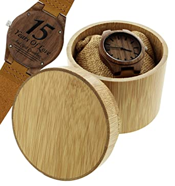 4ae62b7b181f4 Amazon.com  Romantic Gifts 15 Years of Love Still Counting Wood Anniversary  Gifts Engraved Wooden Watch Gift Set  Watches