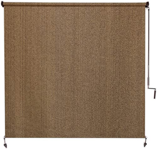 Coolaroo Exterior Roller Shade, Cordless Roller Shade with 95 UV Protection, No Valance, 8 W X 8 L , Walnut