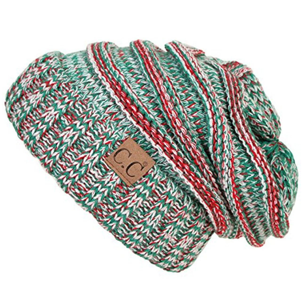 ScarvesMe C.C. Trendy Warm Oversized Chunky Soft Oversized Cable Knit Slouchy Beanie (Christmas)