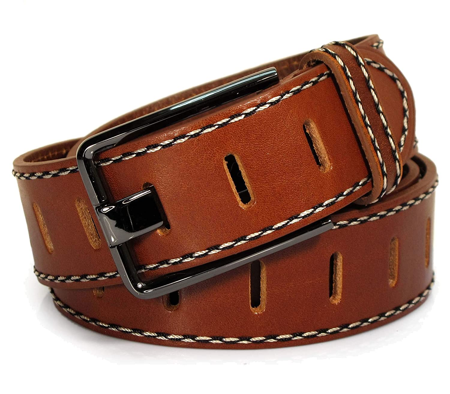 UM2 Mens Real Genuine Leather Tan Brown Belt 1.5 Wide S-L Thick Casual Jeans