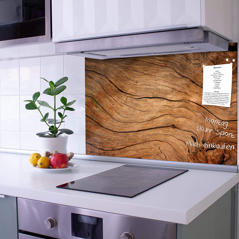 banjado Glas Spritzschutz für Küche und Herd  Küchenrückwand mit Motiv  Trockenes Holz  Glasrückwand selbstklebend ohne Bohren  Küchenspiegel