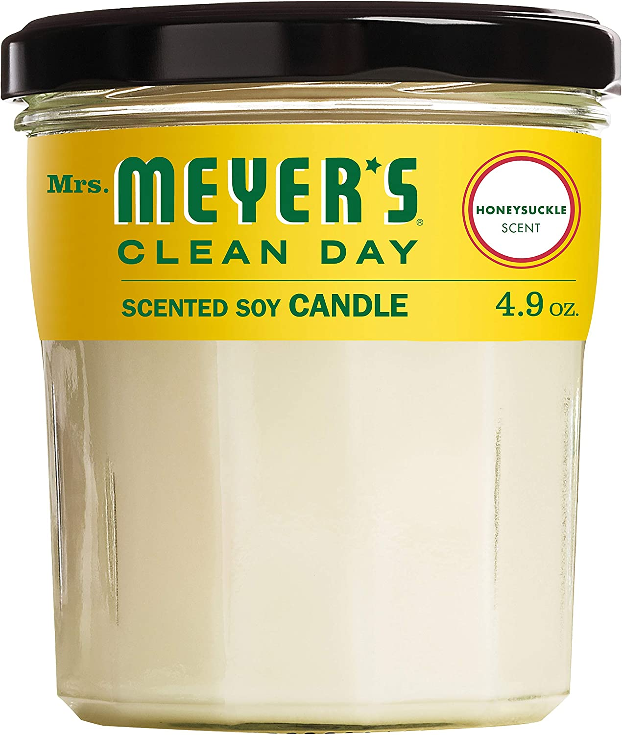 Mrs. Meyer's Clean Day Scented Soy Aromatherapy Candle, 35 Hour Burn Time, Made with Soy Wax, Honeysuckle, 4.9 oz