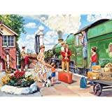 """Bits and Pieces - 300 Large Piece Jigsaw Puzzle for Adults - 18"""" x 24"""" Finished Size - The Train Driver - 300 pc All Aboard Jigsaw by Artist Trevor Mitchell"""