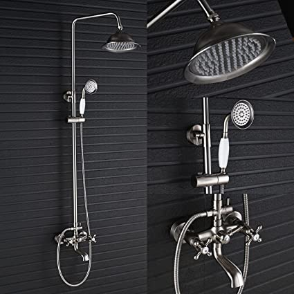 Rozin Brushed Nickel Round Rainfall Shower Set Tub Spout Faucet With Hand Sprayer Wall Mounted