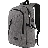 Mancro Laptop Backpack, Business Water Resistant Laptops Backpack Gift for Men Women with Lock and USB Charging Port…