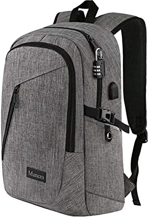 Mancro Laptop Backpack, Business Water Resistant Laptops Backpack Gift for Men Women with Lock and USB Charging Port, Anti Theft College School Bookbag, Travel Computer Bag for 15.6 Inch Laptops,Grey