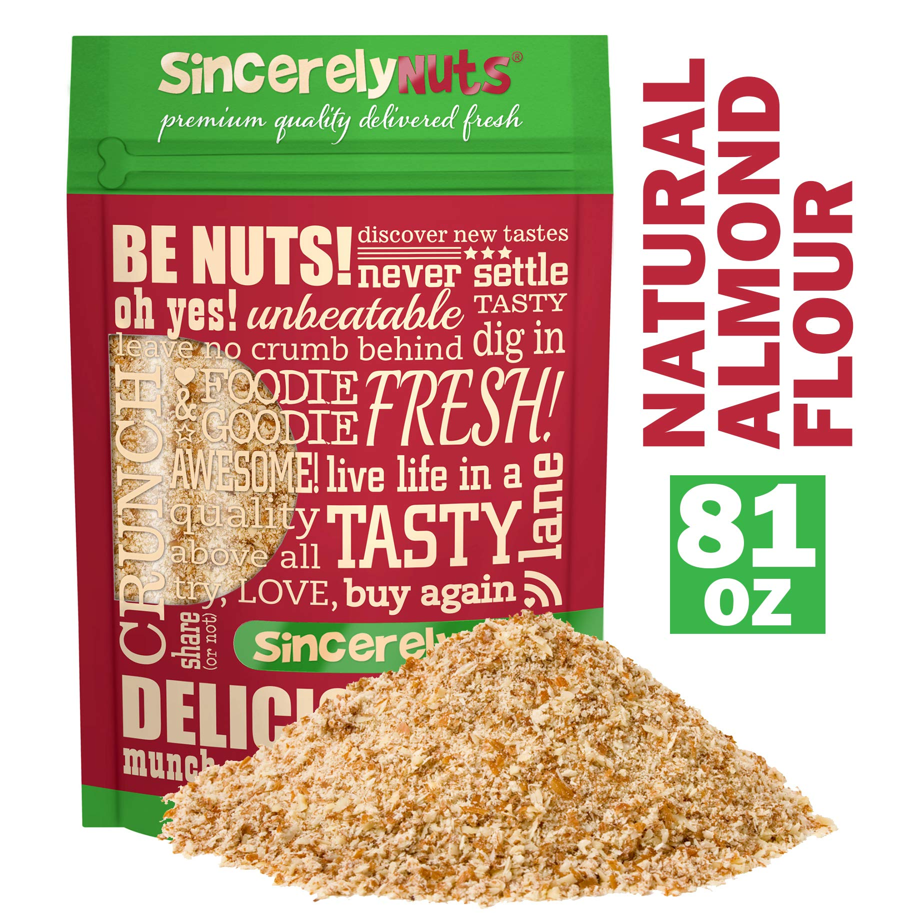 Sincerely Nuts - Natural Almond Flour Meal   5 Lb. Bag   Fine Grain   Low Calorie, Low Sodium, Vegan, Gluten Free   Gourmet Kosher Snack Food   Source of Fiber, Protein, Vitamins and Minerals by Sincerely Nuts