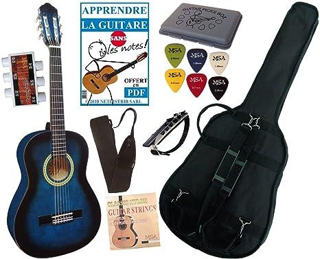 MSA - Guitarra clásica 3/4 (8-13 años, con 6 accesorios