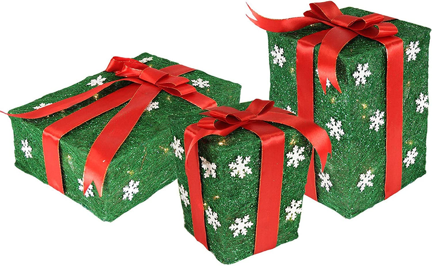 Northlight Set Of 3 Pre Lit Green And Red Gift Boxes Outdoor Christmas Decorations 13 Garden Outdoor
