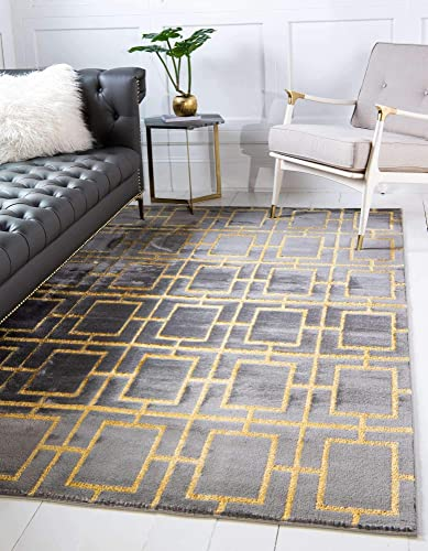 Unique Loom Marilyn Monroe Glam Collection Textured Geometric Trellis Area Rug_MMG001
