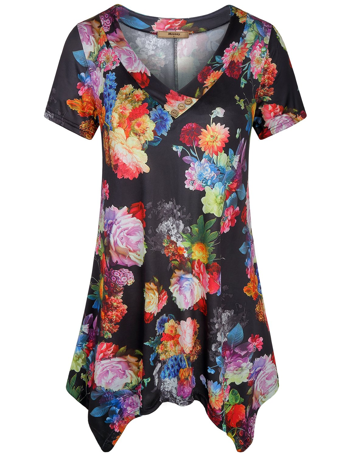 Miusey Knit Tops for Women Ladies Sexy V Neck Short Sleeve Handkerchief Hem Tunic Dresses Stretchy Cute Floral Print Elegant A Line Shirts Working Wear Black L